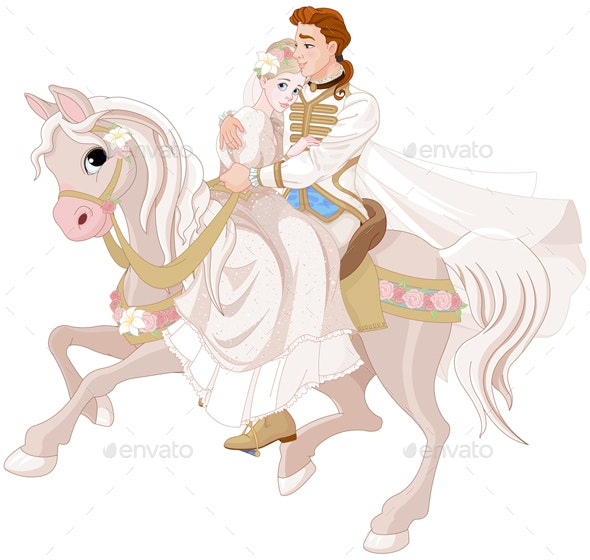 Cinderella and Prince Riding a Horse after Wedding - Characters Vectors