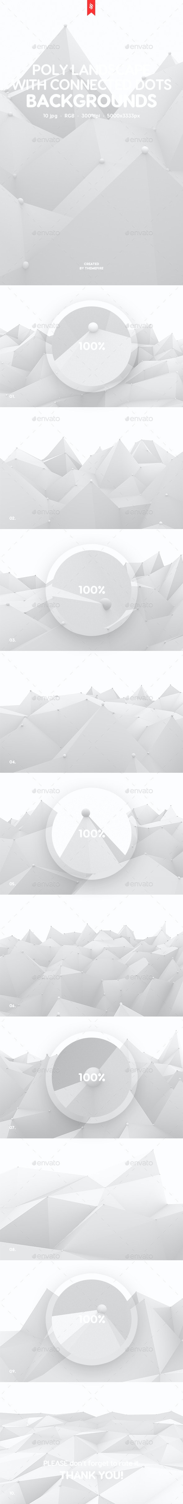 Polygonal Landscape with Connected Dots Backgrounds - Backgrounds Graphics