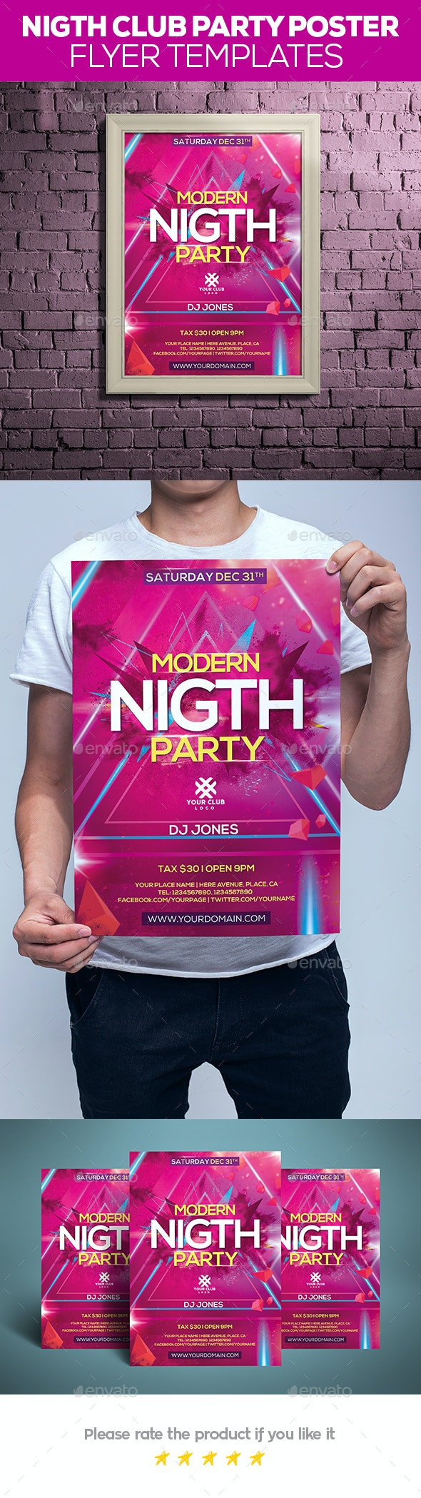 Night Club Party Poster / Flyer - Posters Print