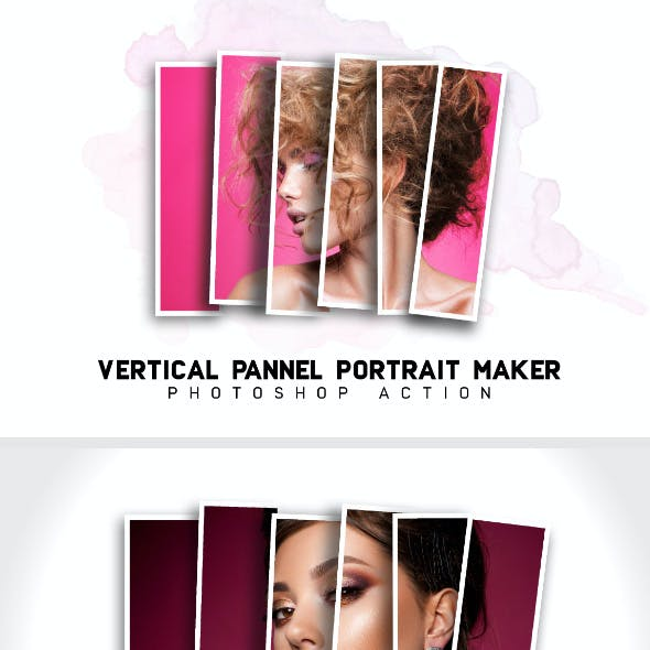 Vertical Panels Collage Photoshop Action