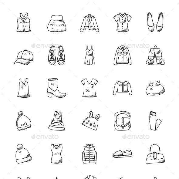 100 Hand Drawn Doodle Fashion Icons