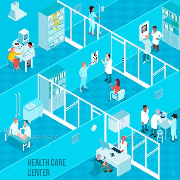 Health Care Center Isometric Illustration
