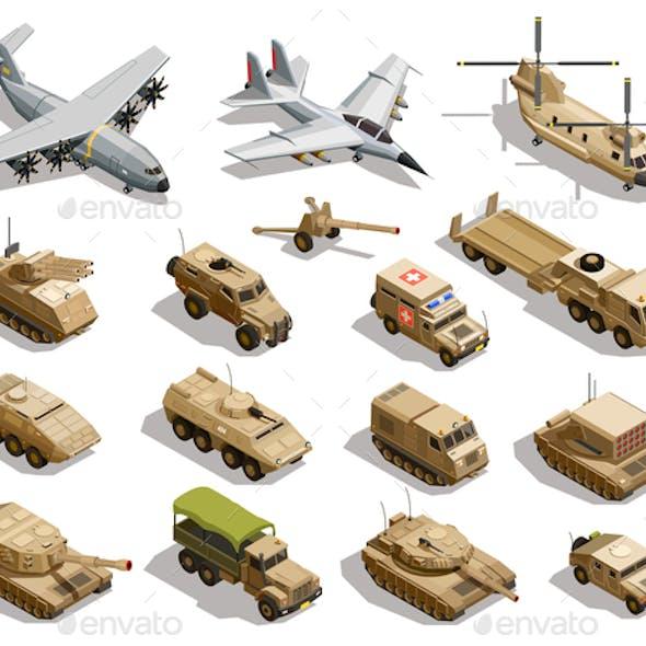 Military Transport Isometric Icons Set