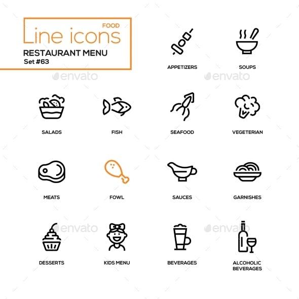 Restaurant Menu - Line Design Icons Set