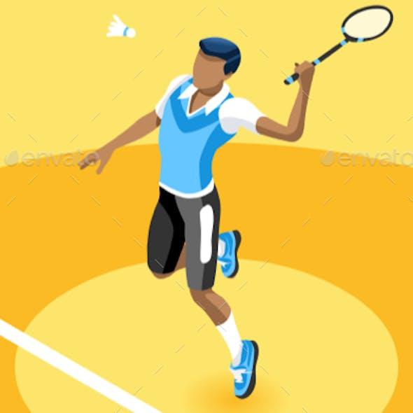 Background Badminton Vector Boy Illustration