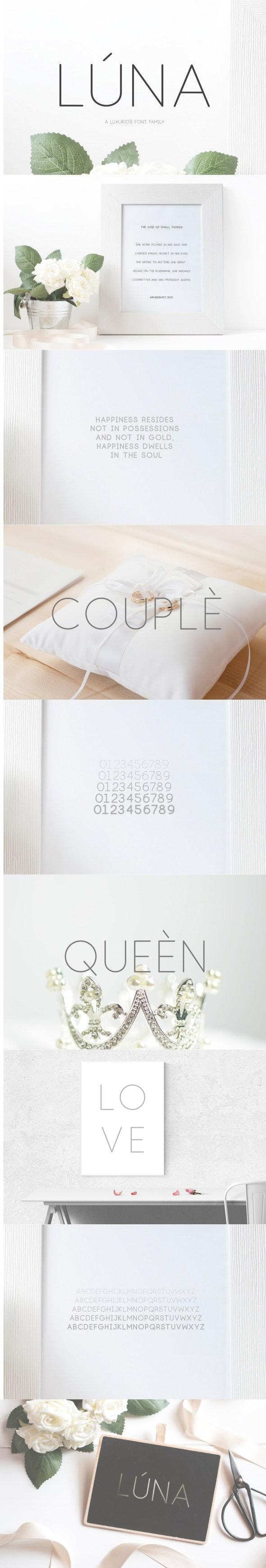 Lúna - A Luxurios Font Family - Sans-Serif Fonts