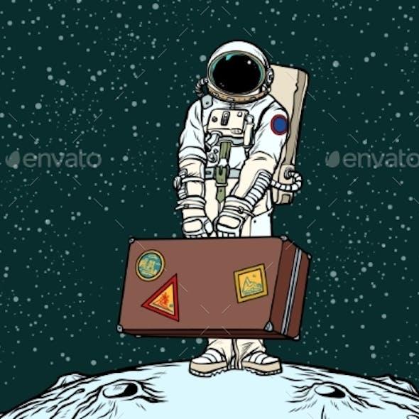 Astronaut Traveler with Travel Suitcase