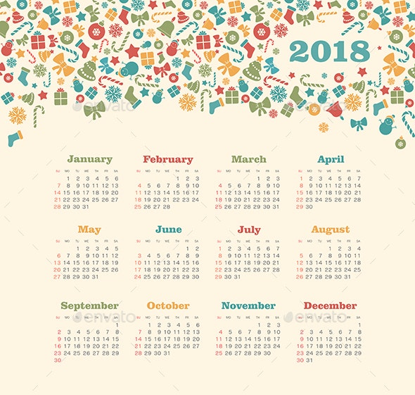 Calendar 2018 year with Christmas pattern. Week starts from Sunday - Valentines Seasons/Holidays