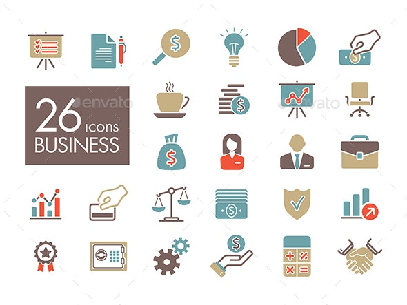 Business and finance web outline icon set - Web Icons