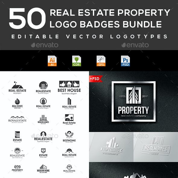 50 Real Estate Property Logo Badges Bundle