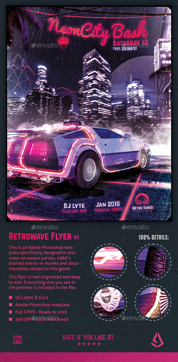 Synthwave Flyer v1 - Neon City Retrowave Poster Template - Events Flyers