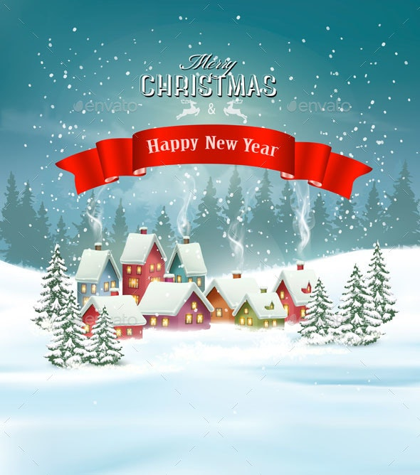 Christmas Holiday Background.Winter Village Christmas Holiday Background