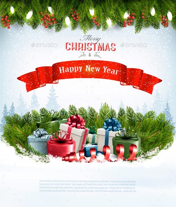 merry christmas banners with branches of tree and gifts by almoond https graphicriver net item merry christmas banners with branches of tree and gifts 21164319