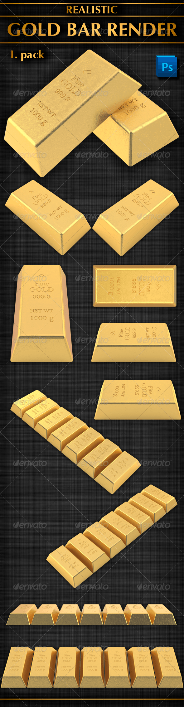 Gold Bar Render (I. Pack) - Objects 3D Renders