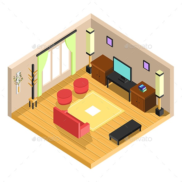Vector Isometric Drawing Room Interior Design By