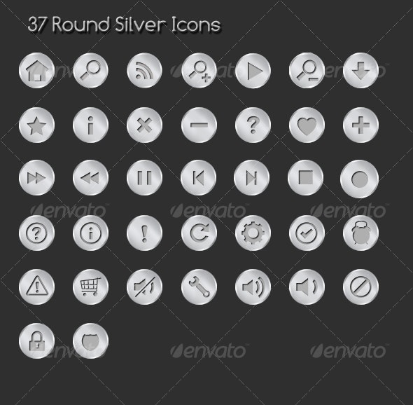 37 Rounded Sliver Icons  - Web Icons