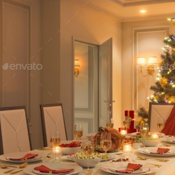 3d Illustration of a Christmas Family Dinner Table