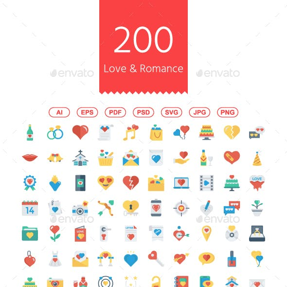 200 Love and Romance Flat Icons