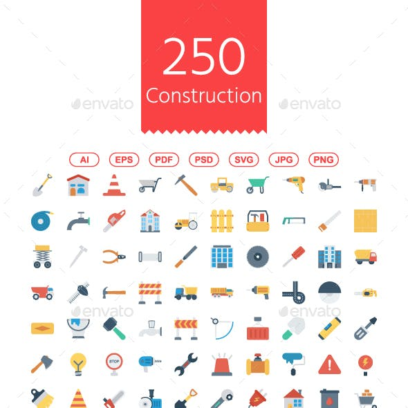 200 Construction Flat Icons