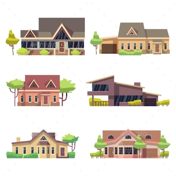 Private Residential Cottage Houses Icons. Colored - Buildings Objects