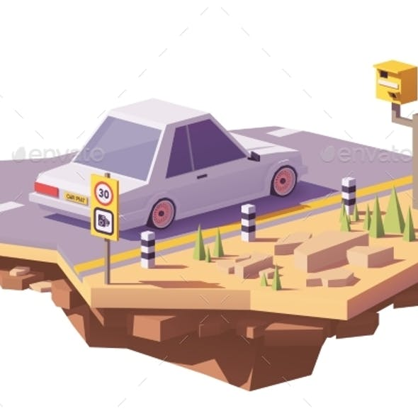 Vector Low Poly Speed Camera and a Car