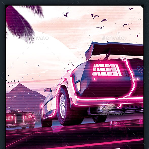 Synthwave Flyer v2 - Neon Dreams Retrowave Poster Template