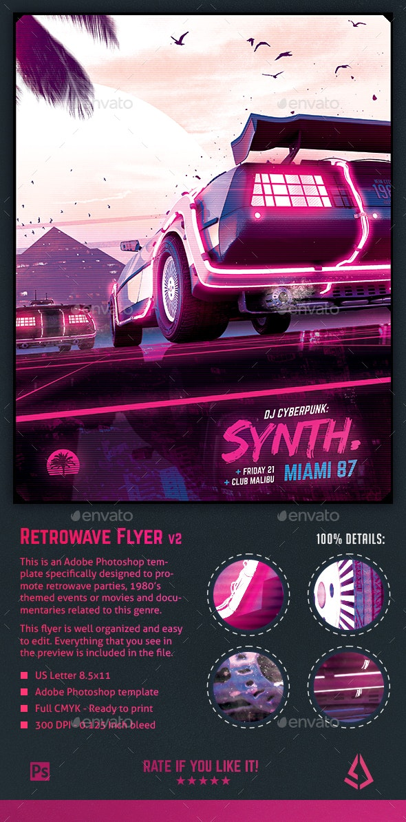 Synthwave Flyer v2 - Neon Dreams Retrowave Poster Template - Events Flyers