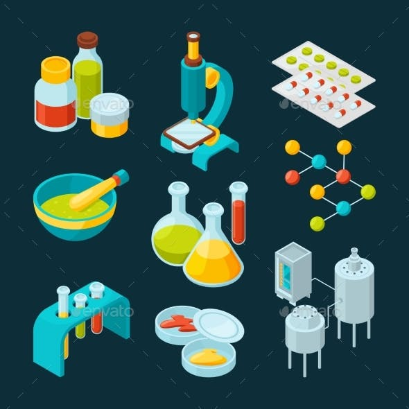 Isometric Icons Set of Pharmaceutical Industry