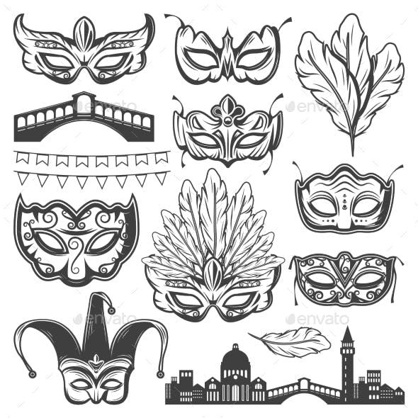 Vintage Venice Carnival Elements Set