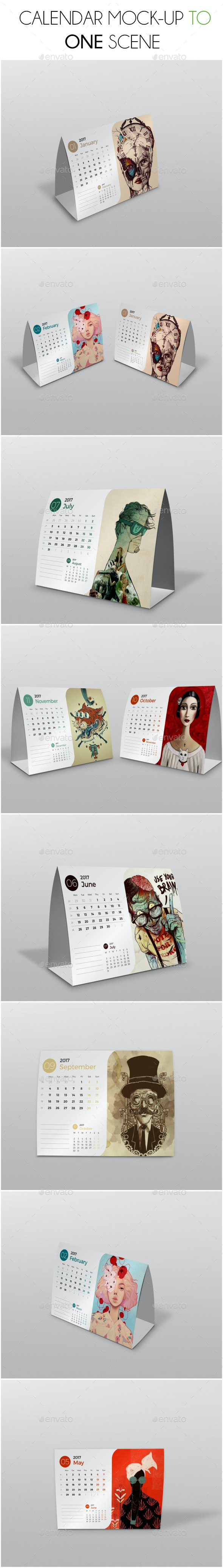 Calendar Mockup Scene - Product Mock-Ups Graphics