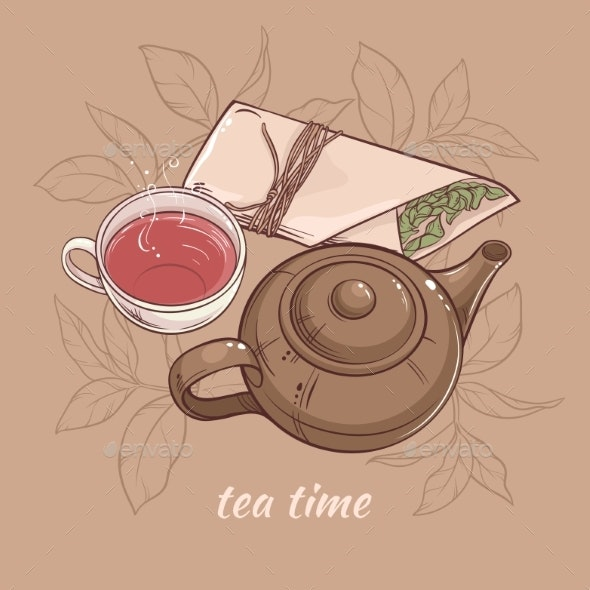 Teapot with Cup of Tea - Food Objects