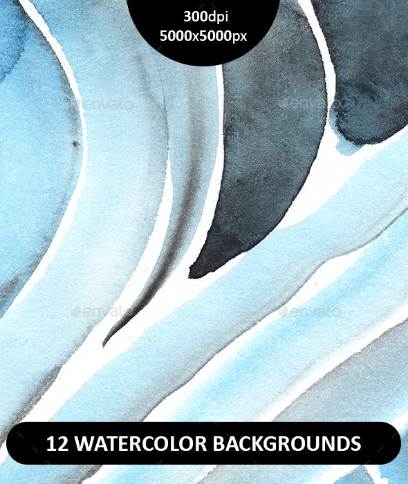 Set of 12 hand painted watercolor backgrounds.