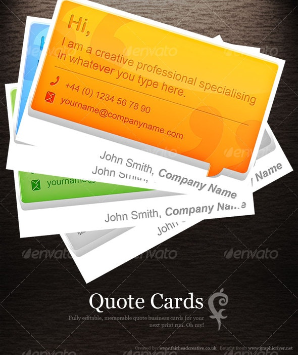 Quote Cards - Business Cards Print Templates