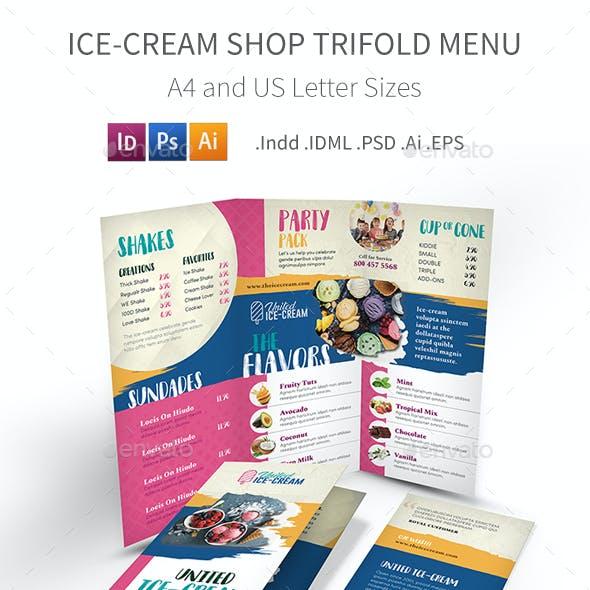 Ice-cream Restaurant Trifold Menu 3