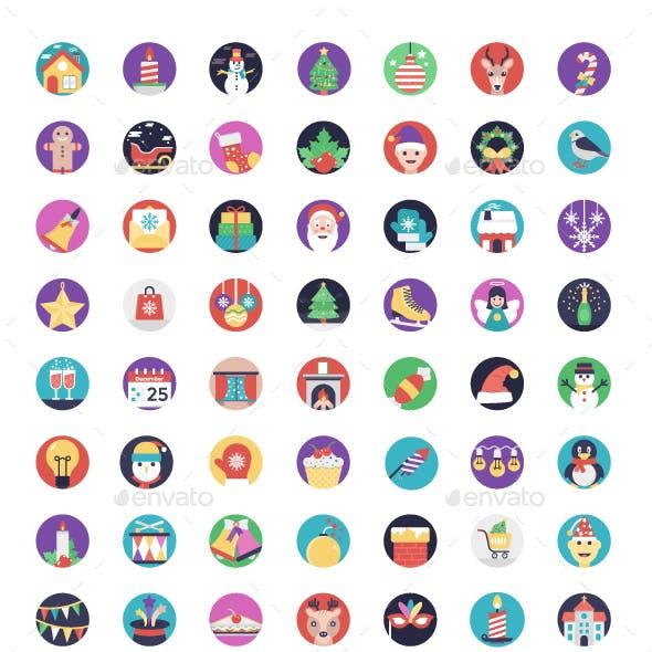84 Christmas Flat Design Icons