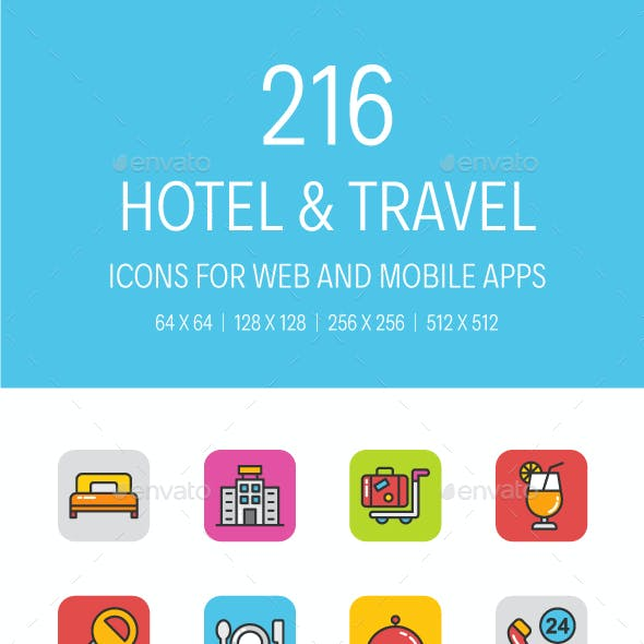 216 Hotel and Travel Icons