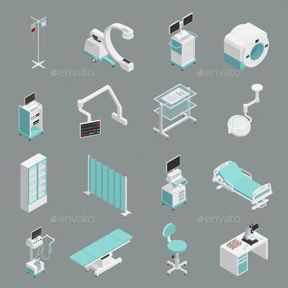Hospital Equipment Isometric Icons Set