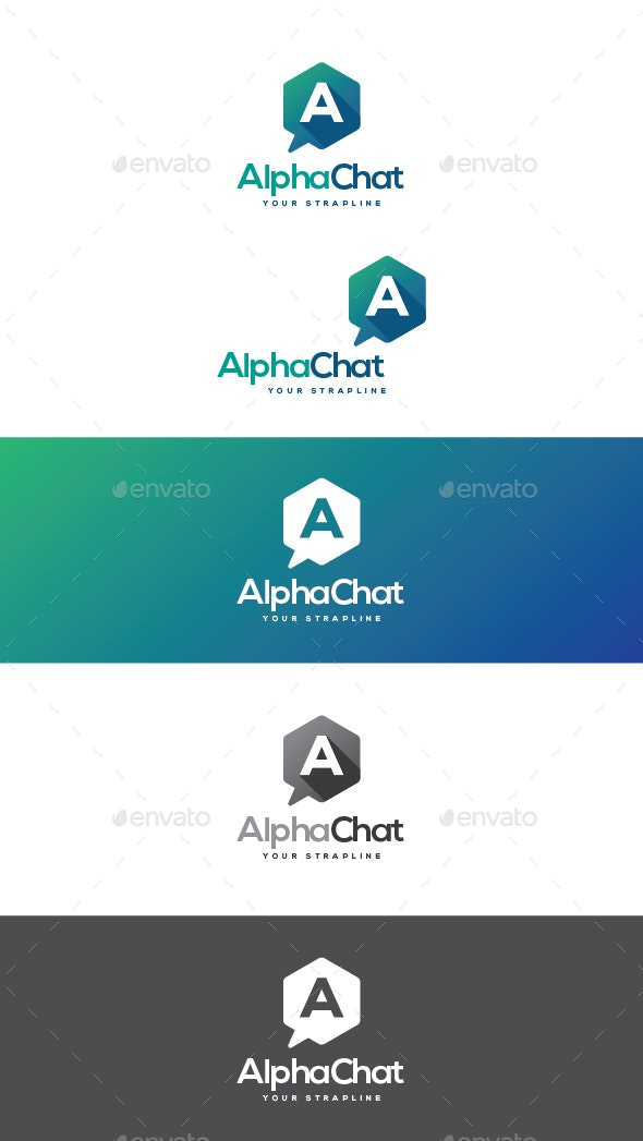 Alpha Chat Letter A Logo - Letters Logo Templates