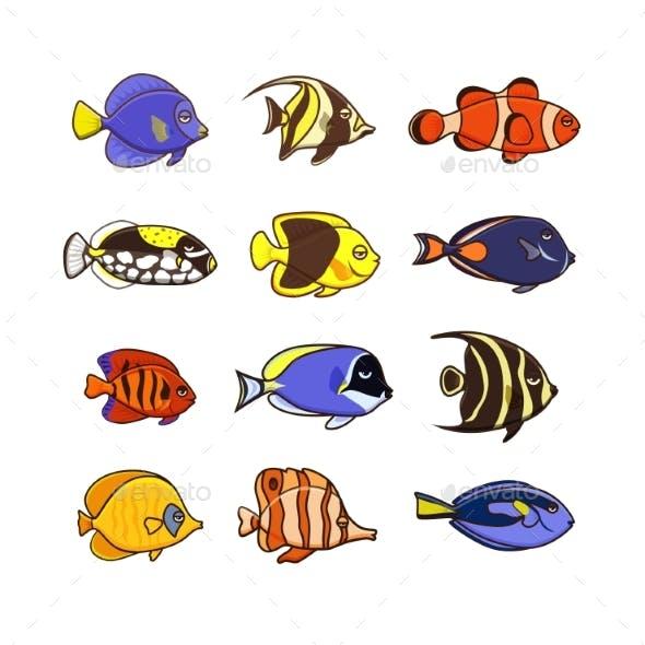 Fish Vector Illustration Icons Set