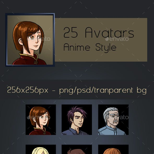 25 Avatars - Anime Style
