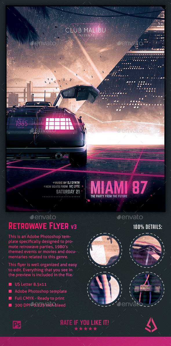 Synthwave Flyer v3 - Neon Miami Retrowave Poster Template - Events Flyers