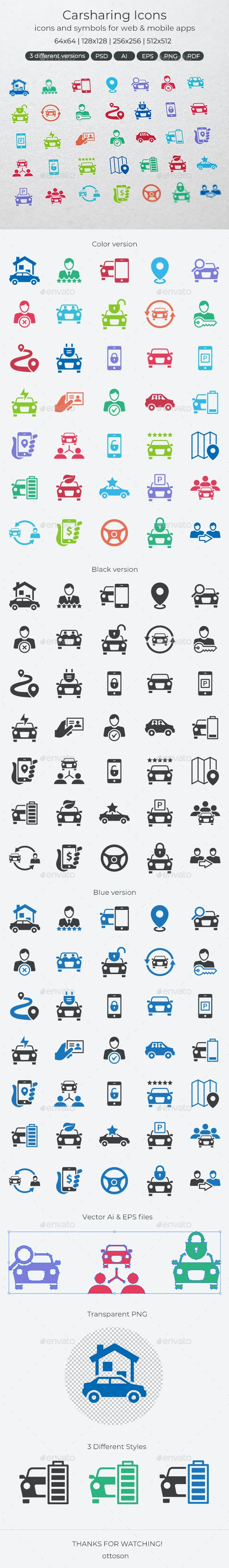 Carsharing Icons - Icons