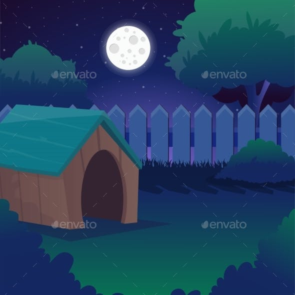 Cartoon Night Landscape with Starry Sky, Full Moon