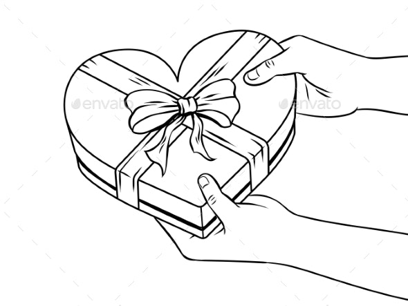 Red Heart Shaped Gift Box Coloring Book Vector - Miscellaneous Vectors