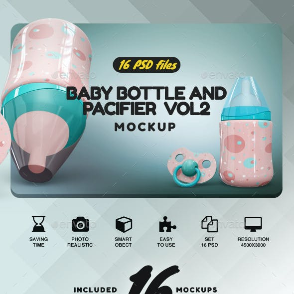 Baby Bottle and Pacifier Mockup