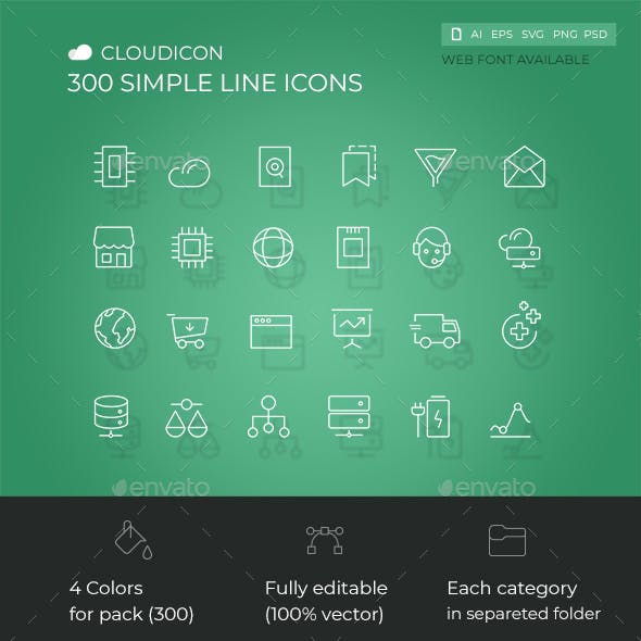 Cloudicon - 300 Simple Line icons