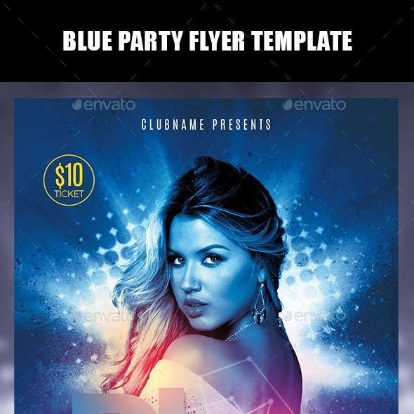 Blue Party Flyer Template