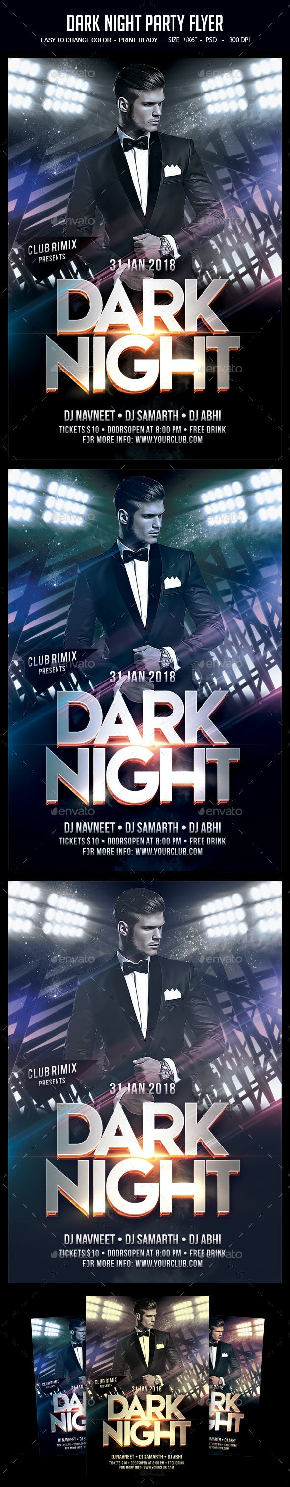 Dark Night Party Flyer - Clubs & Parties Events