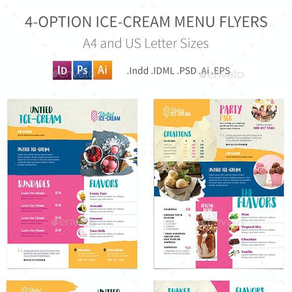 Ice-cream Restaurant Menu Flyers 3 – 4 Options