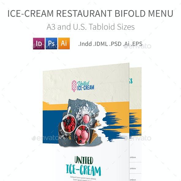 Ice-cream Restaurant Bifold / Halffold Menu 3
